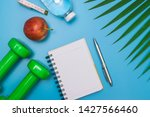top view healthy object on blue ...   Shutterstock . vector #1427566460