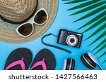 flat lay  top view with hat...   Shutterstock . vector #1427566463