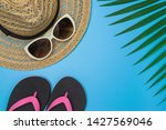 flat lay  top view with hat...   Shutterstock . vector #1427569046
