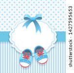 baby boy scrapbook album frame. ... | Shutterstock .eps vector #1427595653