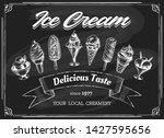 ice cream chalk board drawing.... | Shutterstock .eps vector #1427595656