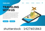 traveling isometric creative...   Shutterstock .eps vector #1427601863