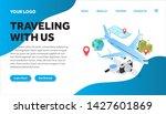 traveling isometric creative...   Shutterstock .eps vector #1427601869