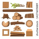 timber set. stacked timbers and ... | Shutterstock .eps vector #1427605889