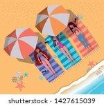 girls tanning with swimwear... | Shutterstock .eps vector #1427615039