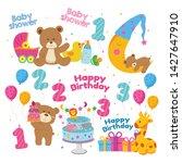 teddy bear baby shower theme... | Shutterstock .eps vector #1427647910