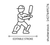 cricket player linear icon.... | Shutterstock .eps vector #1427649176