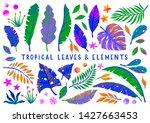 set of vector bright tropical... | Shutterstock .eps vector #1427663453