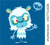 Stock photo happy cartoon bigfoot with speech bubble halloween yeti character with white fur and horns 1427711636