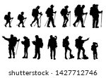 silhouettes of travelers with... | Shutterstock .eps vector #1427712746