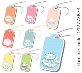 cute set of tea or coffee tags... | Shutterstock .eps vector #142773874
