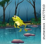 amphibian,animal,branches,brown,cross,drawing,forest,four-legged,frog,gift,gloom,gloomy,graphic,grass,green