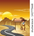 illustration of an angry cowboy ... | Shutterstock .eps vector #142775668