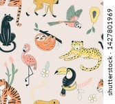 jungle animals color vector... | Shutterstock .eps vector #1427801969