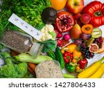 foods rich in fiber and... | Shutterstock . vector #1427806433