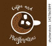 white cup of coffee or espresso ... | Shutterstock .eps vector #1427865899