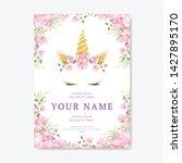 unicorn invitation card with...   Shutterstock .eps vector #1427895170