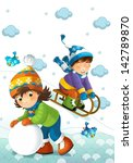 the child in the winter on the... | Shutterstock . vector #142789870