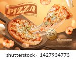 tasty seafood pizza ads with... | Shutterstock .eps vector #1427934773