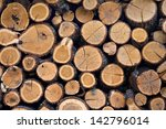 Background Of Firewood Stacked...