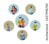 men and women using their... | Shutterstock .eps vector #1427998700