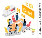 conversation at the round table ... | Shutterstock .eps vector #1428002219
