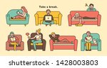 people sitting and resting on... | Shutterstock .eps vector #1428003803