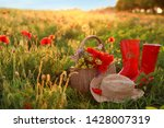 Basket Of Wildflowers With...
