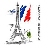 eiffel tower vector illustration   Shutterstock .eps vector #142800958