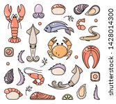 icons set of seafood and asian... | Shutterstock .eps vector #1428014300