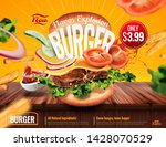delicious hamburger ads with... | Shutterstock .eps vector #1428070529