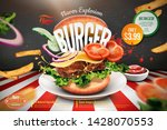 delicious hamburger ads with... | Shutterstock .eps vector #1428070553