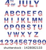 usa flag alphabet and numbers.... | Shutterstock .eps vector #1428082133