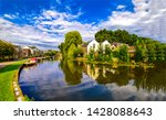 summer river town landscape... | Shutterstock . vector #1428088643