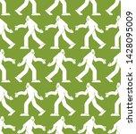 Stock vector yeti pattern seamless bigfoot background sasquatch texture 1428095009