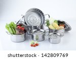 set of stainless pots with lids ... | Shutterstock . vector #142809769