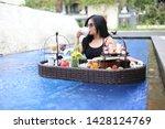 drink tea japanese breakfast in ... | Shutterstock . vector #1428124769