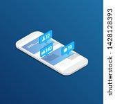 phone social media isometric... | Shutterstock .eps vector #1428128393