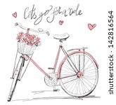 Stock vector bicycle with a basket full of flowers 142816564