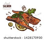 top view salmon raw slices.... | Shutterstock .eps vector #1428170930