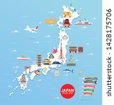 japan famous landmarks travel... | Shutterstock .eps vector #1428175706