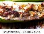 stuffed zucchini with cheese ...   Shutterstock . vector #1428195146