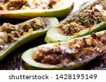 stuffed zucchini with cheese ...   Shutterstock . vector #1428195149