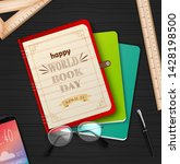 world book day with stack of... | Shutterstock .eps vector #1428198500