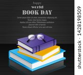 world book day with stack of... | Shutterstock .eps vector #1428198509