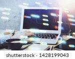 double exposure of data... | Shutterstock . vector #1428199043