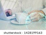 social network theme hologram... | Shutterstock . vector #1428199163
