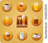 drinks menu icon set | Shutterstock .eps vector #142822024