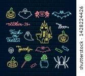 halloween neon icons of... | Shutterstock .eps vector #1428224426