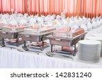 metal kitchen equipments on the ... | Shutterstock . vector #142831240